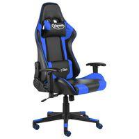vidaXL Obrotowy fotel gamingowy, niebieski, PVC