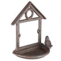 HI Wiszący karmnik dla ptaków w kształcie domku, 18 cm, brązowy