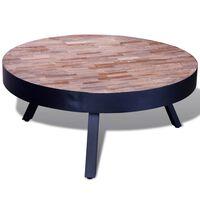 vidaXL Okrągły stolik kawowy z odzyskanego drewna tekowego