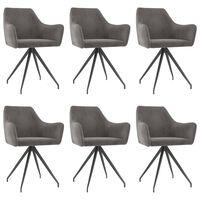vidaXL Krzesła stołowe, 6 szt., ciemnoszare, aksamitne