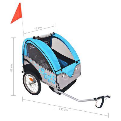 vidaXL Rowerowa przyczepka dla dzieci, szara i niebieska, 30 kg