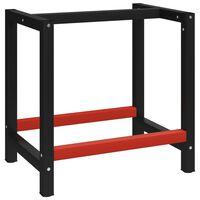 vidaXL Metalowa rama pod blat roboczy, 80x57x79 cm, czarno-czerwona