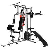 vidaXL Wielozadaniowa domowa siłownia z workiem treningowym, 65 kg