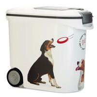 Curver Pojemnik na karmę dla zwierząt, z kółkami, 35 L, wzór z psem