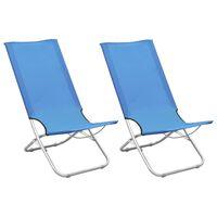 vidaXL Składane krzesła plażowe, 2 szt., niebieskie, obite tkaniną