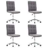 vidaXL Krzesła stołowe, 4 szt., jasnoszare, tapicerowane tkaniną