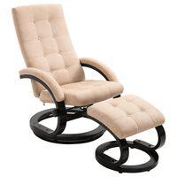 vidaXL Rozkładany fotel z podnóżkiem, kremowy, tkanina zamszopodobna