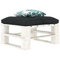 vidaXL Ogrodowy stołek z palet, poduszki w 2 kolorach, drewniany