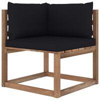 vidaXL Ogrodowa sofa narożna z palet, z czarnymi poduszkami