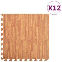 vidaXL Maty podłogowe, 12 szt, wzór drewna, 4,32 ㎡, pianka EVA