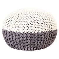 vidaXL Puf, ręcznie dziergany, antracytowo-biały, 50x35 cm, bawełna
