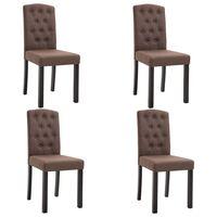 vidaXL Krzesła do jadalni, 4 szt., brązowe, tapicerowane tkaniną