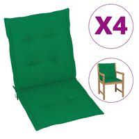 vidaXL Poduszki na krzesła ogrodowe, 4 szt., zielone, 100x50x3 cm