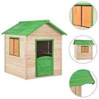vidaXL Domek do zabawy dla dzieci, drewno jodłowe, zielony