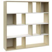 vidaXL Przegroda/regał na książki, biel i dąb sonoma, 110x24x110 cm