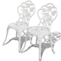 vidaXL Krzesła bistro, 2 szt., odlewane aluminium, białe