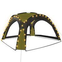 vidaXL Namiot imprezowy z LED i 4 ściankami, 3,6x3,6x2,3 m, zielony