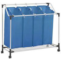 vidaXL Sortownik na pranie z 4 pojemnikami, niebieski, stalowy