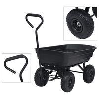 vidaXL Ogrodowy wózek ręczny z wywrotką, 300 kg, 75 L, czarny