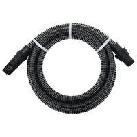 vidaXL Wąż ssący ze złączami z PVC, 7 m, 22 mm, czarny