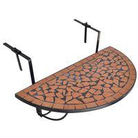 vidaXL Wiszący stolik balkonowy z mozaiką, terakota