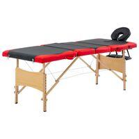 vidaXL Składany stół do masażu, 4 strefy, drewniany, czarno-czerwony