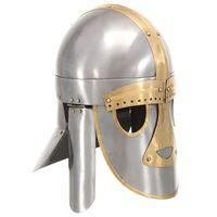 vidaXL Replika średniowiecznego zabytkowego hełmu, LARP, srebrna stal