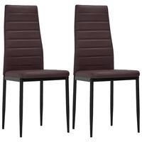 vidaXL Krzesła stołowe, 2 szt., brązowe, sztuczna skóra