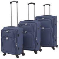 vidaXL 3-częściowy komplet walizek podróżnych, granatowy