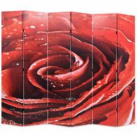 vidaXL Składany parawan, 228x170 cm, czerwona róża