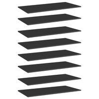 vidaXL Półki na książki, 8 szt., wysoki połysk, czarne, 80x20x1,5 cm