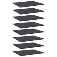vidaXL Półki na książki, 8 szt., szare, 60x50x1,5 cm, płyta wiórowa