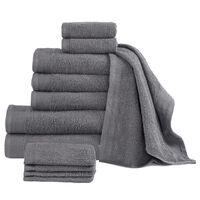 vidaXL Komplet 12 ręczników, bawełna, 450 g/m², antracytowy