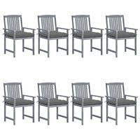 vidaXL Krzesła ogrodowe, poduszki, 8 szt., lite drewno akacjowe, szare