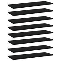 vidaXL Półki na książki, 8 szt., czarne, 60x20x1,5 cm, płyta wiórowa