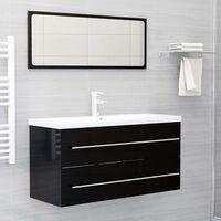 vidaXL Szafka pod umywalkę, czarna, wysoki połysk, 100x38,5x48 cm