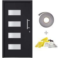 vidaXL Drzwi frontowe, aluminium i PVC, antracytowe, 100x200 cm