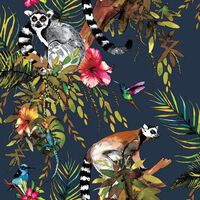 DUTCH WALLCOVERINGS Tapeta z motywem lemurów, głęboki morski