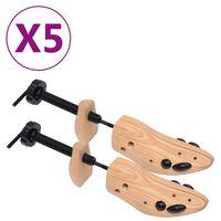 vidaXL Prawidła do butów, 5 par, rozmiar 36-40, lite drewno sosnowe