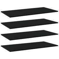 vidaXL Półki na książki, 4 szt., czarne, 80x20x1,5 cm, płyta wiórowa