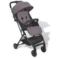 vidaXL Szary, kompaktowy wózek spacerowy, 89x47,5x104 cm