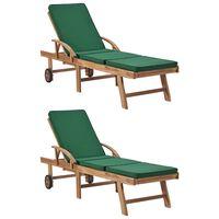 vidaXL Leżaki z poduszkami, 2 szt., lite drewno tekowe, zielone