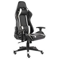 vidaXL Obrotowy fotel gamingowy, biały, PVC