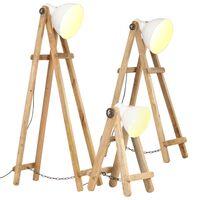 vidaXL Lampy podłogowe, 3 szt., białe, E27, lite drewno mango