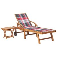 vidaXL Leżak ze stolikiem i poduszką, lite drewno tekowe