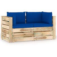vidaXL Ogrodowa sofa 2-os z poduszkami, impregnowane na zielono drewno