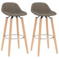 vidaXL Krzesła barowe, 2 szt., taupe, tapicerowane tkaniną