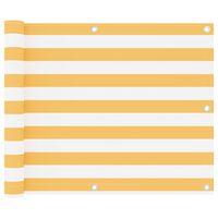 vidaXL Parawan balkonowy, biało-żółty, 75x400 cm, tkanina Oxford