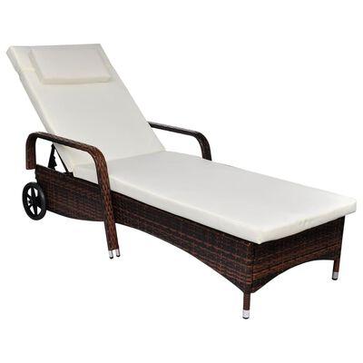 vidaXL Leżak z poduszką i kółkami, rattan PE, brązowy