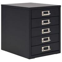 vidaXL Szafka na dokumenty z 5 szufladami, metal, 28x35x35 cm, czarna